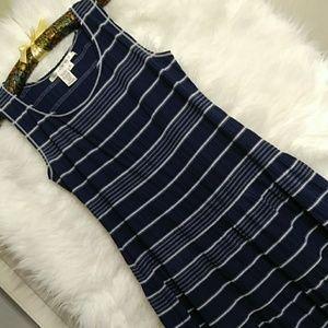 MAX STUDIO Drop Waist Stretchy Cotton Sundress